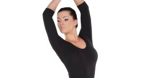 3/4-Arm Ballettrikot in schwarz für Damen