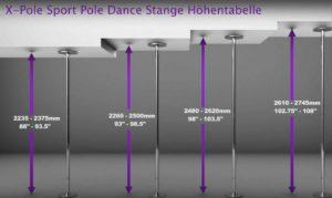 Pole Dance Stange Höhentabelle