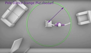 Pole Dance Stange Platzbedarf