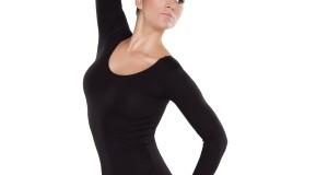 Balletttrikot Damen in schwarz Baumwolle - langer Arm